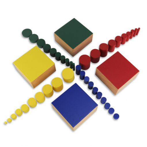 Cylindres Colorés montessori