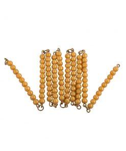 100 perles en abs et dorées