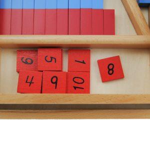 petites barres rouges et bleues montessori