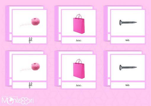 Cartes de nomenclature série rose